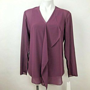 Foxcroft Purple Chiffon Ruffled Blouse Size 4 New